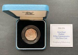 Gran Britain -1994 - 50 Pence - D-Day- Elizabeth II - Silver Proof Piedfort