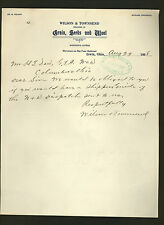 1908 letter from Wilson & Townsend, dealers in grain, seeds & wool * Irwin Ohio