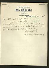 1908 letter from Wilson & Townsend, dealers in grain, seeds & wool * Irwin Ohio