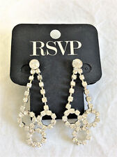 NWT Charming Charlie RSVP Silver Crystals Pierced Drop Dangle Earrings
