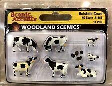 WOODLAND SCENICS HOLSTEIN COWS HO SCALE A1863 11pc SET + 1 FREE HO SCALE FIGURE!