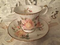 RARE Vintage PARAGON Peace Rose set cup saucer CHINA Bone Potters England QUEEN