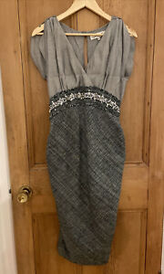 Damsel In A Dress Smart Grey Tweed Ruched Sparkle Embroidered Women's UK10
