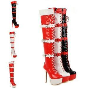 Women Stiletto High Heel Shoes Platform Chukka Over Knee Thigh Boots Buckle Sexy