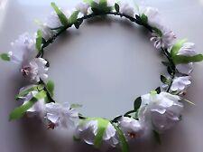 Women Lady White Flower wedding Hair Head Tiara Headband crown Garland Wreath