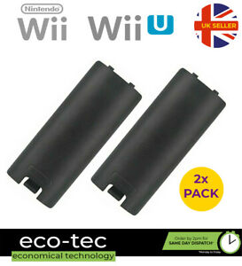 2x Black Nintendo Wii Remote Replacement Battery Back Cover Shell