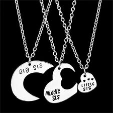 Love Charm 3pcs Big Middle Little Sisters Necklaces Gift Silver Hearts Pendant F