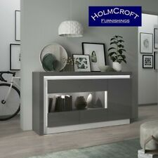 Designer Sideboard Lyon 3 Door Glazed Gloss Grey LED Light Up