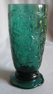 18 Oz Footed Tumbler Glass Princess House Crystal Fantasia Pattern Emerald Green