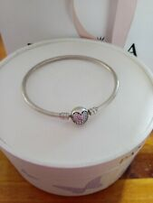 Authentic Pandora Sterling Silver Bangle Circle of Love Pink CZ Pave