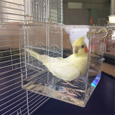 Transparent Spacious Acrylic Bath House Cage For Pet Bird Cockatiels   ! K New