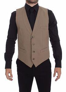 DOLCE & GABBANA Vest Beige Cotton Slim Fit Button Front Dress s 48 / M
