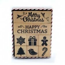 Wood Rubber Stamp Set Christmas (8 Pieces) Happy Merry Xmas Craft Cardmaking