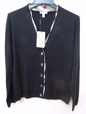 Burberry Brit Women NOVA CHECK Black WOOL Cardigan,Top, Sweater- Size L