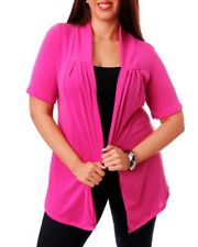 T27 NEW Womens Pink Plus Size 14/16 Short Sleeves Knitted Outerwear Cardigan