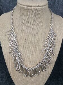 Statement DDD Mexico modernist  sterling Silver 925 fringe toggle necklace