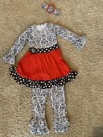Girls Sz 4T Boutique Outfit Black White Brown Red. Matching Headband Included!!