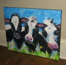 Happy COW CANVAS Wall PICTURE*Farmhouse Primitive/French Country Decor