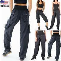 Women High Waist Cargo Pants Ladies Casual Loose Trousers Pockets Sweatpants US