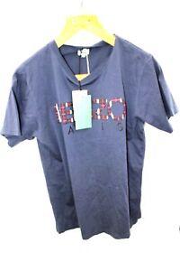 Ladies KENZO Blue Embroidered Logo Front Basics T-shirt UK M BNWT - W28