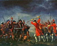 Battle Of Culloden Painting British Scottish Jacobite War Real Canvas Art Print