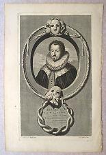 """Eau-forte sur vergé, """"Duc d'Alençon"""", XVIIème,  van Gunst d'après Van der Werff"""