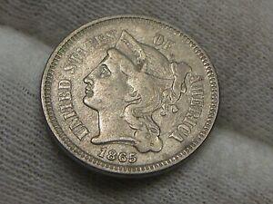 VF 1865 3¢ Cent Nickel.  #33