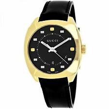 c54cc65728b Gucci Watch Gg2570 Gold Tone Swiss Black Leather Strap 41mm Men s YA142310