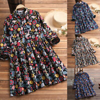Womens Swing Skater Dress Ladies A Line Tunic Top Flared Floral Dress Sizes 8-26