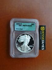 1992 S PROOF SILVER EAGLE ICG PR70 DCAM BETTER DATE GREEN LABEL