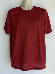 UNDER ARMOUR Loose Heat Gear Red Black S/S Athletic Shirt Men's Size Medium
