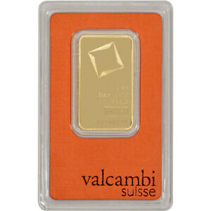 1 oz. Gold Bar - Valcambi Suisse - 999.9 Fine in Assay
