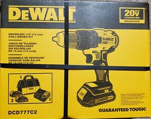 Dewalt DCD777C2 20V Max 1/2-in Brushless Cordless Drill Charger 2-Batteries New!