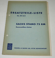 Ersatzteilliste Sachs Stamo 75 RM Rasenmäher Motor Vergaser Kolben Nr. 417.6/3