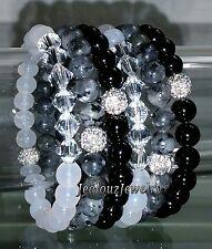 6 Crystal Gray Labradorite Black White Gemstone Stretch Bracelet Arm Candy Stack