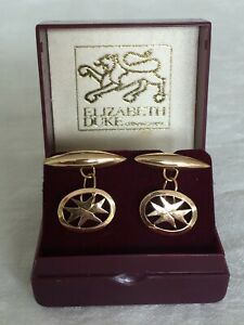 Antique Vintage 18ct Solid Yellow Gold Cufflinks Boxed