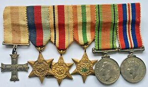 Miniature Medal Group - old MC, 1939/45, Africa & Italy Stars, Defence & War