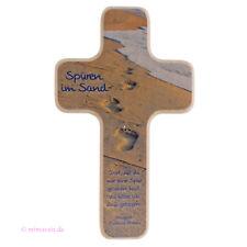 Wandkreuz Kinderkreuz Spuren im Sand zur Geburt, Taufe, Kommunion, Trauung Kreuz