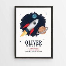 Personalised Rocket Birth Print/ Announcement/ Nursery Decor Wall Poster-DIGITAL