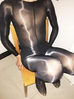 8D Super shiny Men bodystocking High Quality Long Sleeve Bodysuit Sheath closed