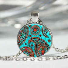 Paisley photo Tibet silver Dome Glass Cabochon Necklace chain Pendant #359