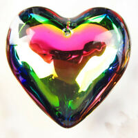43x43x17mm Multicolor Titanium Crystal Heart Pendant Bead Necklace for Jewelry