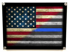 American Flag Thin Blue Line Metal Wall Art Decor - with Matching 8x10 print