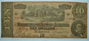 1864 $10 CONFEDERATE STATES CURRENCY CIVIL WAR NOTE - T-68 (CS-68).- .99c START