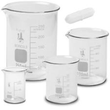 Glass Low Form Beaker Set With 1 Inch Magnetic Stir Bar 33 Boro 4 Sizes