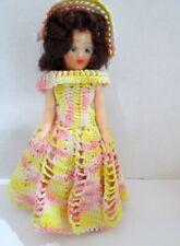 """Vintage 1940s Pretty Belle Doll Crochet Dress Hat Brunette Hair 7 1/2"""""""