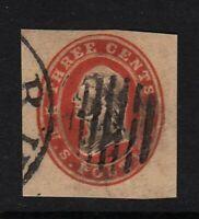 1861 stationery cut square Sc U26 used 3c red