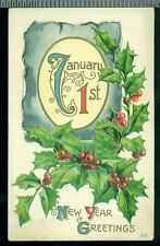 January 1st New Year Greetings Large Holly Gold Vintage Postcard