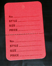 """100 RED 2.75""""x1.75"""" Large Perforated Unstrung Price Consignment Store Tags"""