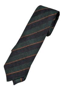 Drake's – Forest Green Grenadine Silk Tie w/Navy & Orange Regimental Stripe